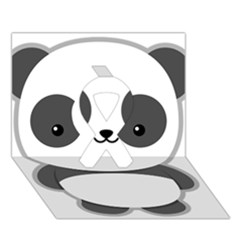 Kawaii Panda Ribbon 3d Greeting Card (7x5)