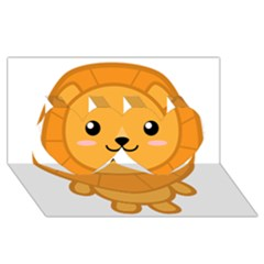 Kawaii Lion Twin Hearts 3d Greeting Card (8x4)