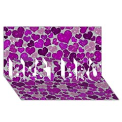 Sparkling Hearts Purple Best Bro 3d Greeting Card (8x4)  by MoreColorsinLife