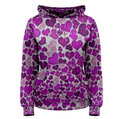 Sparkling Hearts Purple Women s Pullover Hoodies by MoreColorsinLife