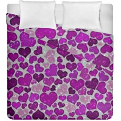 Sparkling Hearts Purple Duvet Cover (king Size) by MoreColorsinLife