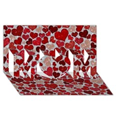 Sparkling Hearts, Red MOM 3D Greeting Card (8x4)