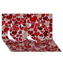 Sparkling Hearts, Red Twin Hearts 3d Greeting Card (8x4)