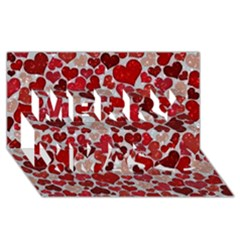 Sparkling Hearts, Red Merry Xmas 3d Greeting Card (8x4)