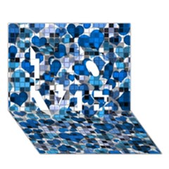 Hearts And Checks, Blue Love 3d Greeting Card (7x5)
