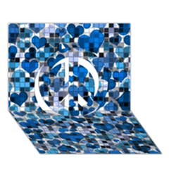 Hearts And Checks, Blue Peace Sign 3d Greeting Card (7x5)