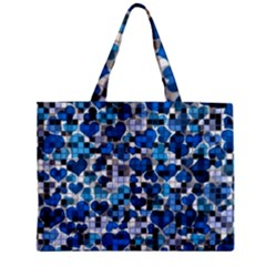 Hearts And Checks, Blue Zipper Tiny Tote Bags by MoreColorsinLife
