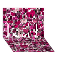 Hearts And Checks, Pink I Love You 3d Greeting Card (7x5)