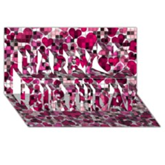 Hearts And Checks, Pink Happy Birthday 3d Greeting Card (8x4)  by MoreColorsinLife