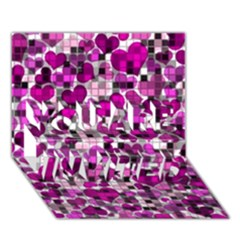 Hearts And Checks, Purple YOU ARE INVITED 3D Greeting Card (7x5)  by MoreColorsinLife