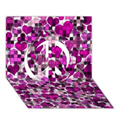 Hearts And Checks, Purple Peace Sign 3d Greeting Card (7x5)