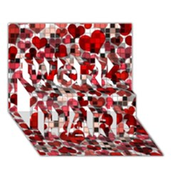 Hearts And Checks, Red Work Hard 3d Greeting Card (7x5)