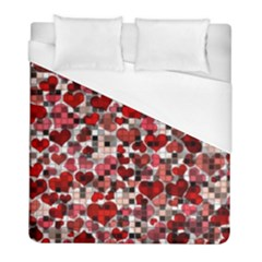 Hearts And Checks, Red Duvet Cover Single Side (twin Size) by MoreColorsinLife