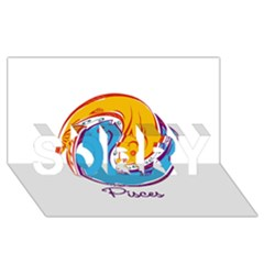Pisces Star Sign Sorry 3d Greeting Card (8x4)  by theimagezone
