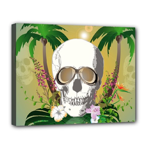 Funny Skull With Sunglasses And Palm Canvas 14  X 11  by FantasyWorld7