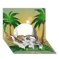 Funny Skull With Sunglasses And Palm Love Bottom 3d Greeting Card (7x5)  by FantasyWorld7