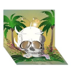 Funny Skull With Sunglasses And Palm Clover 3d Greeting Card (7x5)  by FantasyWorld7