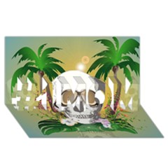 Funny Skull With Sunglasses And Palm #1 Mom 3d Greeting Cards (8x4)