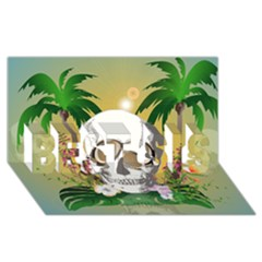 Funny Skull With Sunglasses And Palm Best Sis 3d Greeting Card (8x4)  by FantasyWorld7