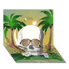 Funny Skull With Sunglasses And Palm Circle 3d Greeting Card (7x5)  by FantasyWorld7