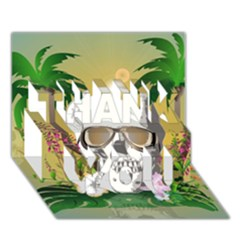 Funny Skull With Sunglasses And Palm Thank You 3d Greeting Card (7x5)  by FantasyWorld7