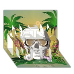 Funny Skull With Sunglasses And Palm Get Well 3d Greeting Card (7x5)  by FantasyWorld7
