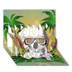 Funny Skull With Sunglasses And Palm You Rock 3d Greeting Card (7x5)  by FantasyWorld7