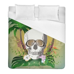 Funny Skull With Sunglasses And Palm Duvet Cover Single Side (twin Size) by FantasyWorld7