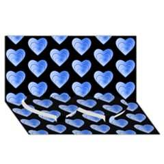 Heart Pattern Blue Twin Heart Bottom 3d Greeting Card (8x4)  by MoreColorsinLife
