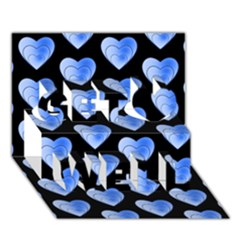 Heart Pattern Blue Get Well 3d Greeting Card (7x5)