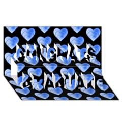 Heart Pattern Blue Congrats Graduate 3d Greeting Card (8x4)