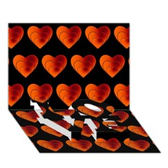 Heart Pattern Orange Love Bottom 3d Greeting Card (7x5)