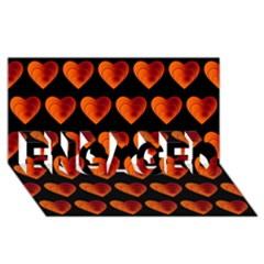 Heart Pattern Orange Engaged 3d Greeting Card (8x4)  by MoreColorsinLife