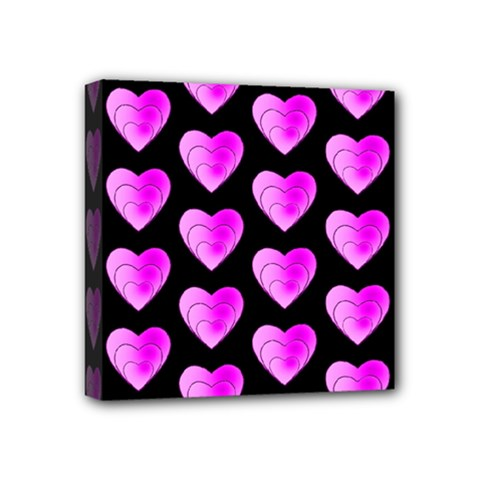 Heart Pattern Pink Mini Canvas 4  X 4  by MoreColorsinLife