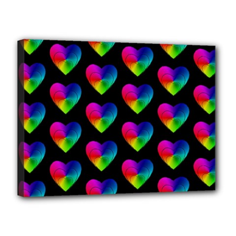 Heart Pattern Rainbow Canvas 16  X 12  by MoreColorsinLife