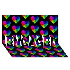 Heart Pattern Rainbow Engaged 3d Greeting Card (8x4)  by MoreColorsinLife