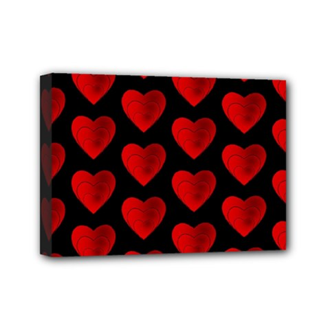 Heart Pattern Red Mini Canvas 7  x 5  by MoreColorsinLife