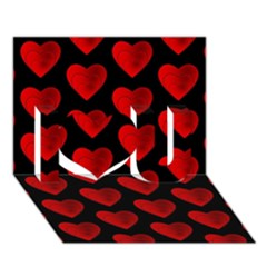 Heart Pattern Red I Love You 3d Greeting Card (7x5)