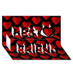 Heart Pattern Red Best Friends 3D Greeting Card (8x4)