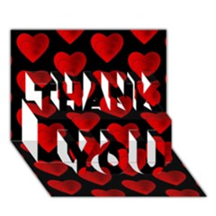 Heart Pattern Red Thank You 3d Greeting Card (7x5)