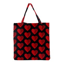 Heart Pattern Red Grocery Tote Bags by MoreColorsinLife