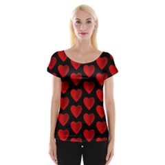 Heart Pattern Red Women s Cap Sleeve Top by MoreColorsinLife