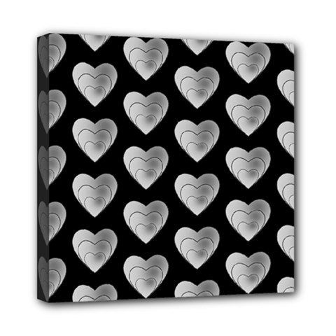 Heart Pattern Silver Mini Canvas 8  X 8