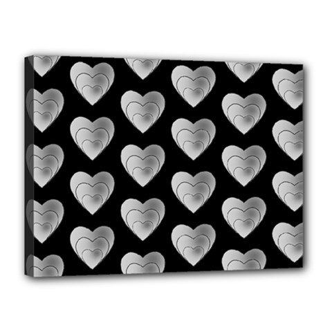 Heart Pattern Silver Canvas 16  X 12  by MoreColorsinLife