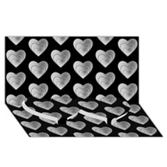 Heart Pattern Silver Twin Heart Bottom 3d Greeting Card (8x4)  by MoreColorsinLife