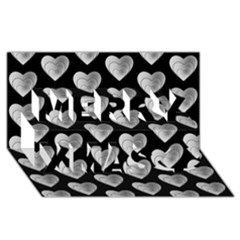 Heart Pattern Silver Merry Xmas 3d Greeting Card (8x4)  by MoreColorsinLife