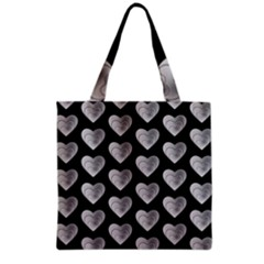 Heart Pattern Silver Grocery Tote Bags by MoreColorsinLife