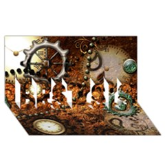 Steampunk In Noble Design Best Sis 3d Greeting Card (8x4)