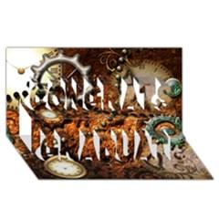 Steampunk In Noble Design Congrats Graduate 3d Greeting Card (8x4)