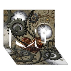 Steampunk With Clocks And Gears And Heart I Love You 3d Greeting Card (7x5)  by FantasyWorld7